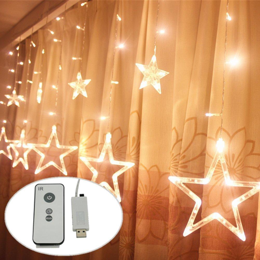USB DC5V LED Sternenvorhang 138 LED-Lichter Mit Fernbedienung