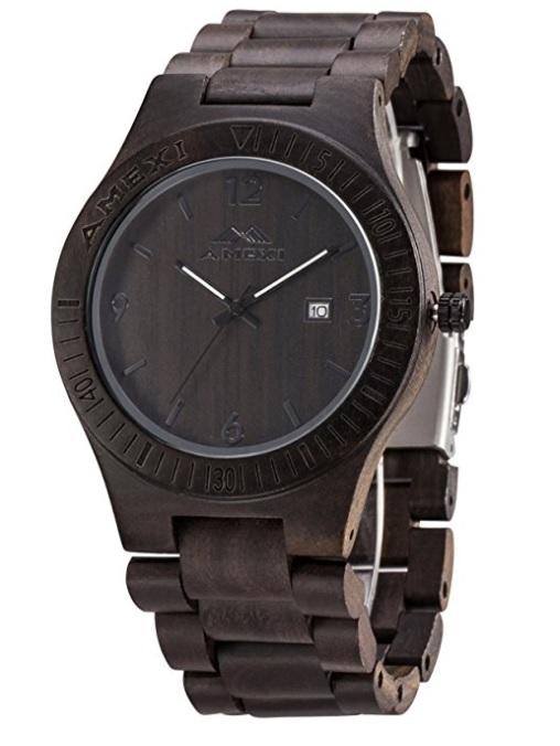 Amexi Holzuhr Herren Uhren Aus Holz Ebenholz Holz Uhren Armbanduhr