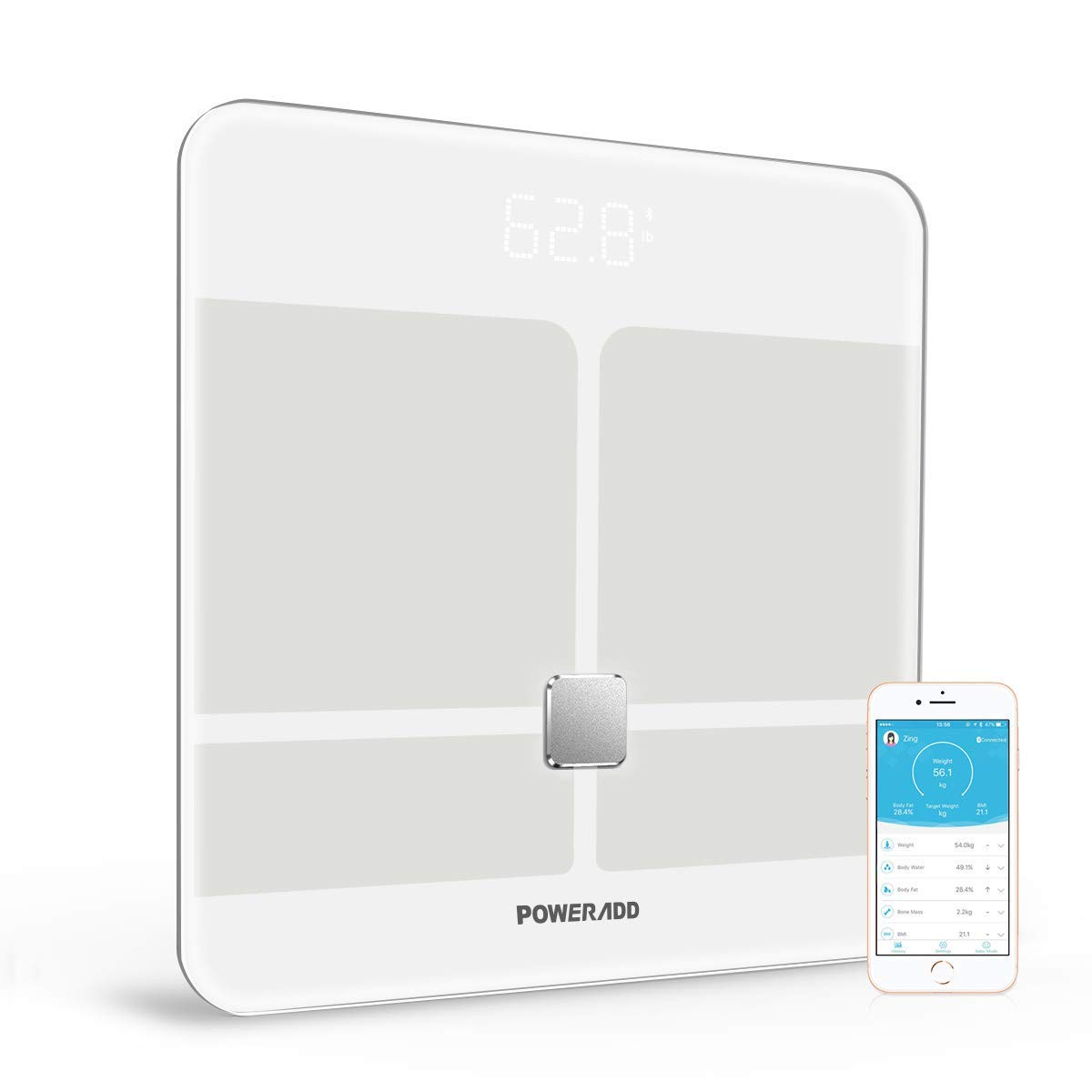 POWERADD Digitale Personenwaagen Bluetooth waage, 5-180kg