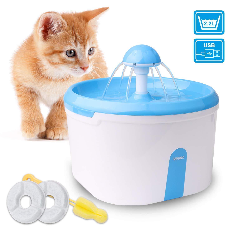 WOWGO – Trinkbrunnen 2.2L Automatische Haustier Wasserspender für Katze und Hunde