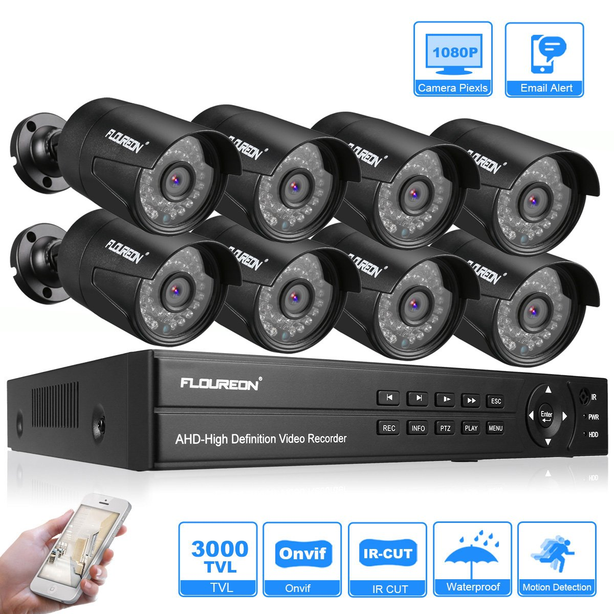 FLOUREON Videoüberwachung 8CH AHD 1080N DVR + 8X 3000TVL 2.0MP Überwachungskamera